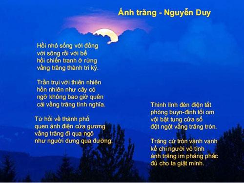 suy nghi cua em ve bai tho anh trang cua nha tho nguyen duy - Suy nghĩ của em về bài thơ Ánh trăng của nhà thơ Nguyễn Duy
