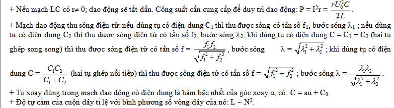 cac cong thuc co lien quan den dao dong dien tu 1 - Các công thức có liên quan đến dao động điện từ