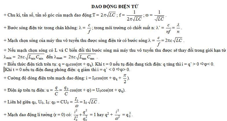 cac cong thuc co lien quan den dao dong dien tu - Các công thức có liên quan đến dao động điện từ