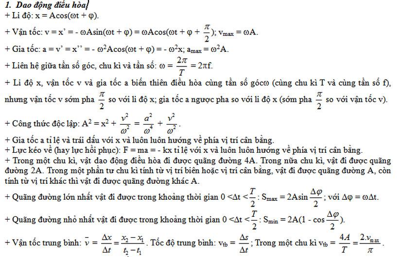 cong thuc giai nhanh vat ly on thi thpt quoc gia phan dao dong co - Công thức giải nhanh vật lý ôn thi THPT Quốc gia phần Dao động cơ