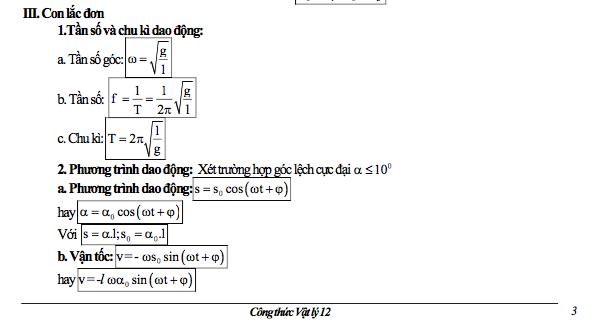 cong thuc vat ly lop 12 ve con lac don - Công thức Vật lý lớp 12 về con lắc đơn