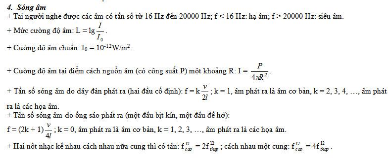 tong hop cac cong thuc vat ly ve song co va song am 3 - Tổng hợp các công thức Vật lý về sóng cơ và sóng âm
